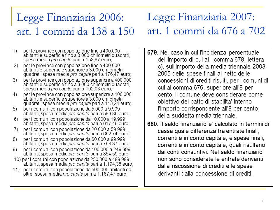 7 Legge Finanziaria 2006: art.
