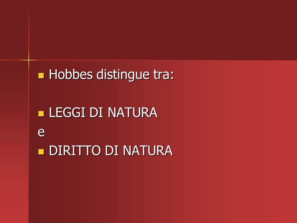 Hobbes distingue tra: Hobbes distingue tra: LEGGI DI NATURA LEGGI DI NATURAe DIRITTO DI NATURA DIRITTO DI NATURA