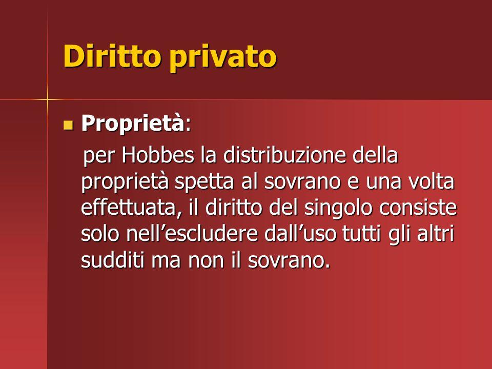 Diritto privato Proprietà: Proprietà: per Hobbes la distribuzione della proprietà spetta al sovrano e una volta effettuata, il diritto del singolo con