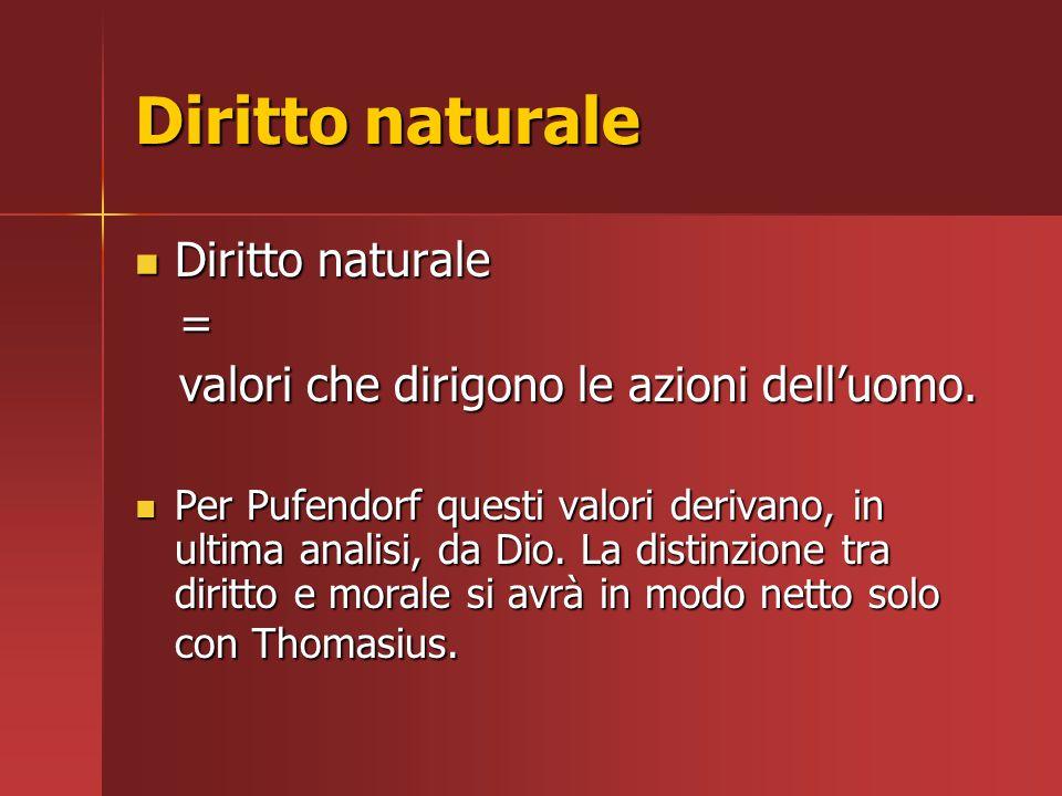 Diritto naturale Diritto naturale Diritto naturale = valori che dirigono le azioni dell'uomo. valori che dirigono le azioni dell'uomo. Per Pufendorf q