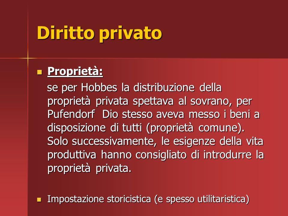 Diritto privato Proprietà: Proprietà: se per Hobbes la distribuzione della proprietà privata spettava al sovrano, per Pufendorf Dio stesso aveva messo