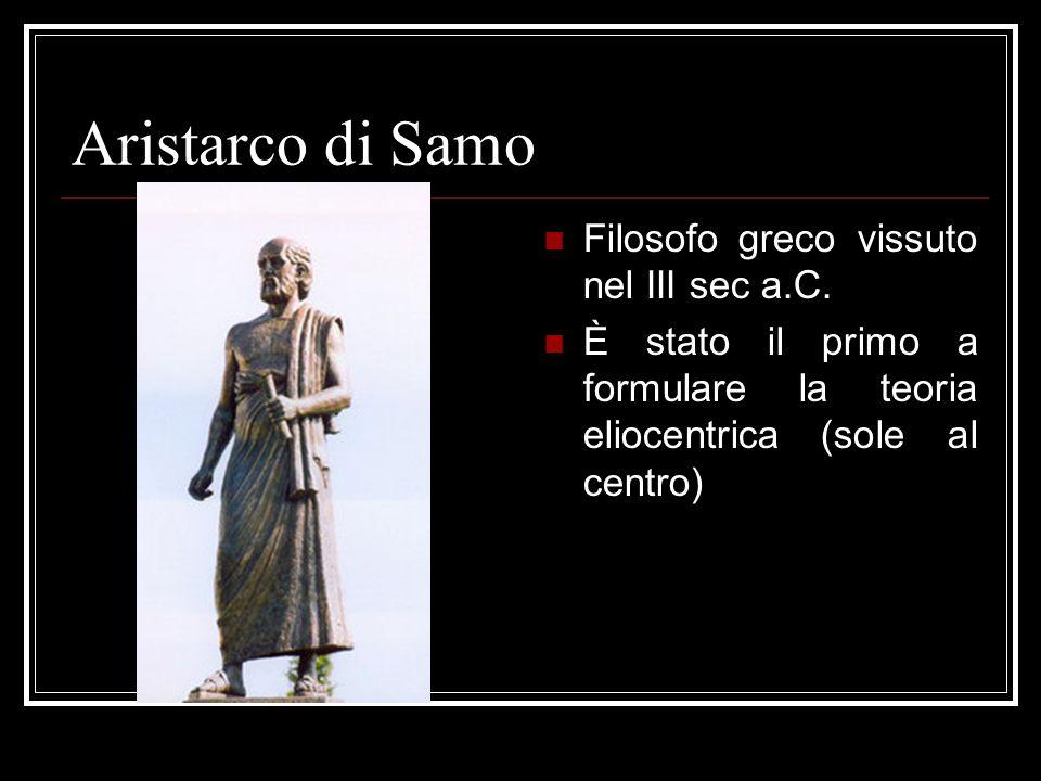 Aristarco di Samo Filosofo greco vissuto nel III sec a.C. È stato il primo a formulare la teoria eliocentrica (sole al centro)