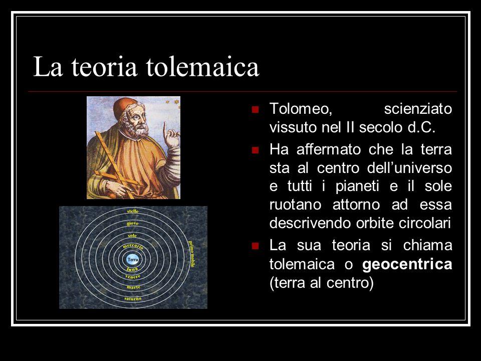 La teoria copernicana Niccolò Copernico, scienziato polacco vissuto nel XVI secolo Afferma che il sole è al centro dell'universo e tutti i pianeti ruotano attorno ad esso La sua teoria di chiama copernicana o eliocentrica (sole al centro)