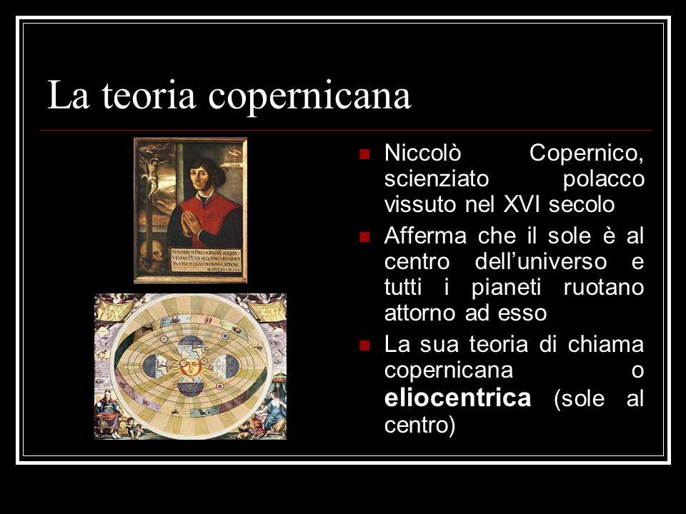 La teoria copernicana Niccolò Copernico, scienziato polacco vissuto nel XVI secolo Afferma che il sole è al centro dell'universo e tutti i pianeti ruo
