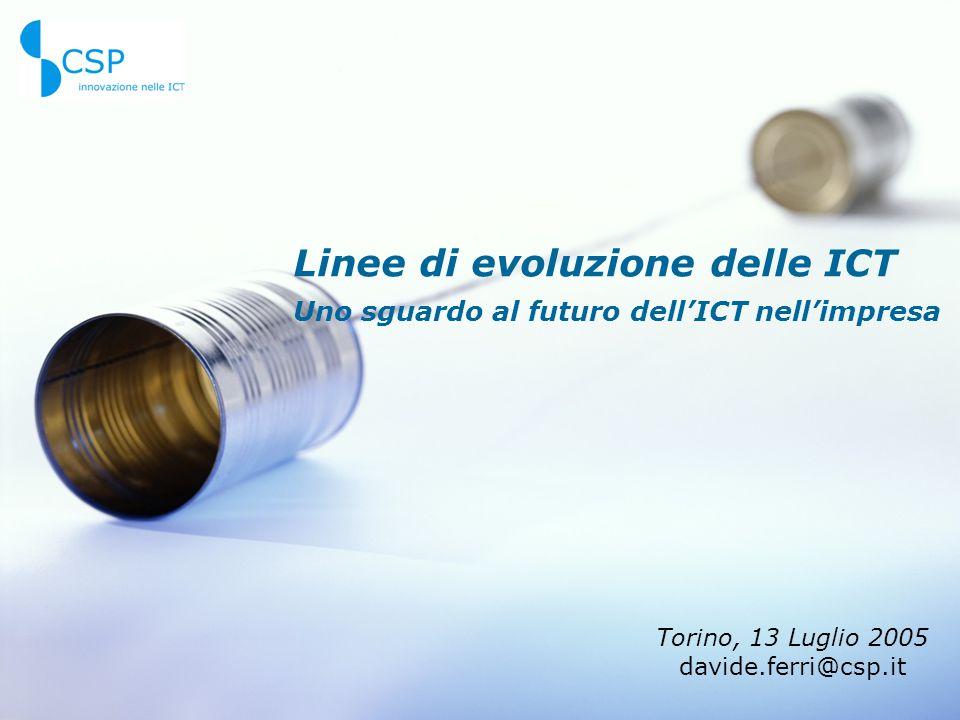 Linee di evoluzione delle ICT Uno sguardo al futuro dell'ICT nell'impresa Torino, 13 Luglio 2005 davide.ferri@csp.it