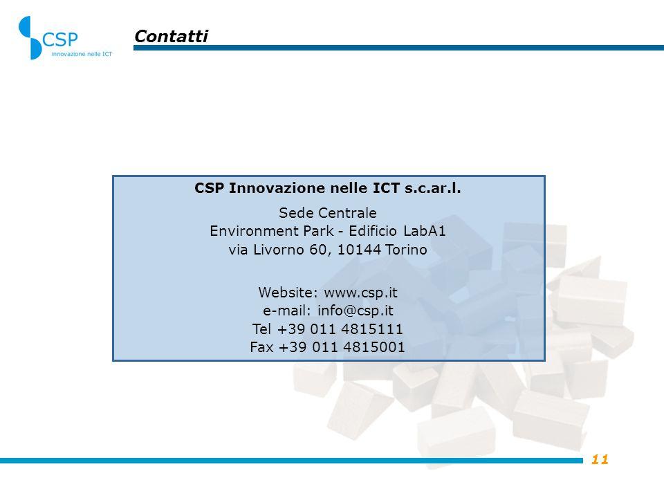 11 Contatti CSP Innovazione nelle ICT s.c.ar.l.