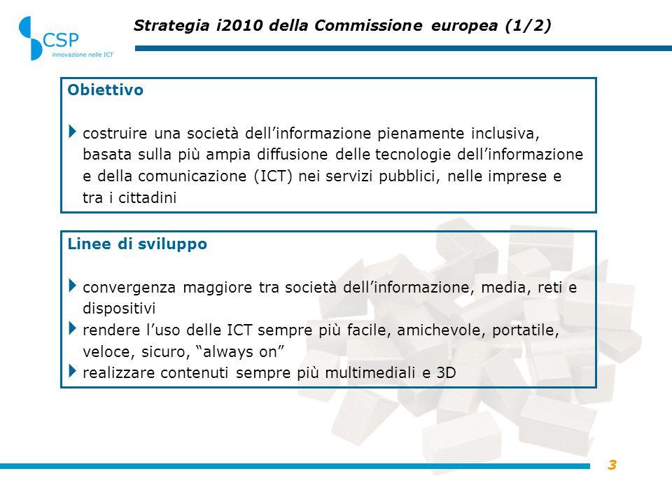 3 Strategia i2010 della Commissione europea (1/2) Obiettivo  costruire una società dell'informazione pienamente inclusiva, basata sulla più ampia diffusione delle tecnologie dell'informazione e della comunicazione (ICT) nei servizi pubblici, nelle imprese e tra i cittadini Linee di sviluppo  convergenza maggiore tra società dell'informazione, media, reti e dispositivi  rendere l'uso delle ICT sempre più facile, amichevole, portatile, veloce, sicuro, always on  realizzare contenuti sempre più multimediali e 3D