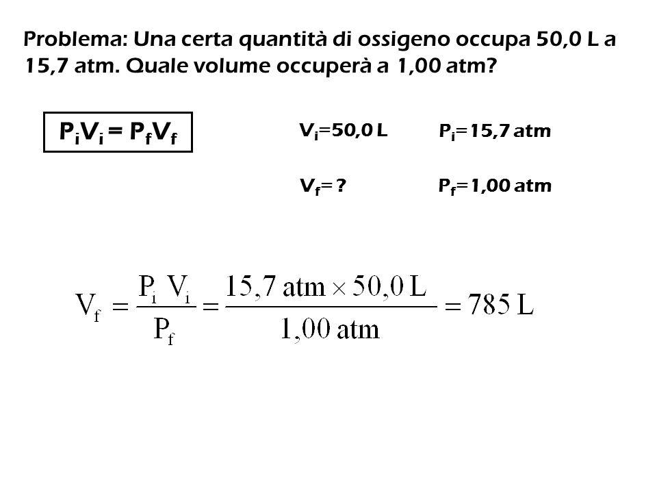 Problema: Una certa quantità di ossigeno occupa 50,0 L a 15,7 atm.