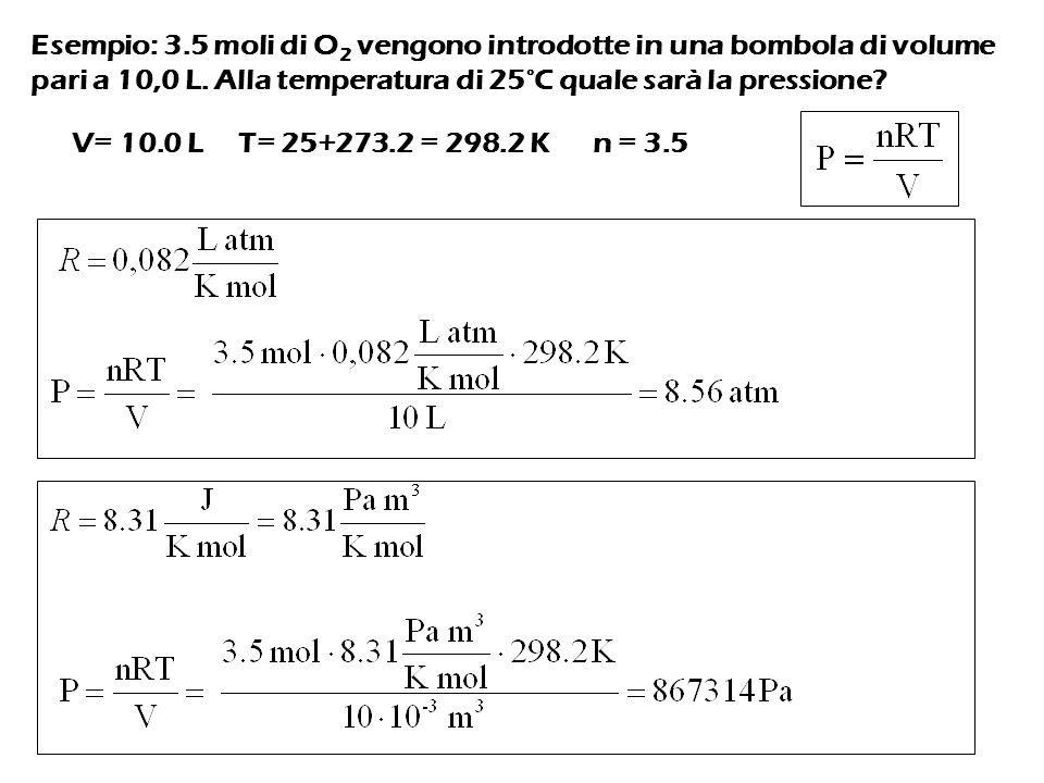 Esempio: 3.5 moli di O 2 vengono introdotte in una bombola di volume pari a 10,0 L.