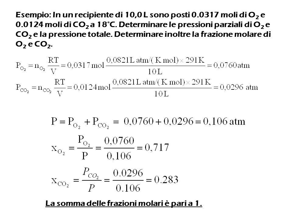 Esempio: In un recipiente di 10,0 L sono posti 0.0317 moli di O 2 e 0.0124 moli di CO 2 a 18°C.