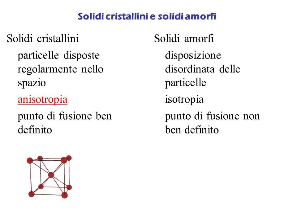 Solidi cristallini e solidi amorfi Solidi cristallini  particelle disposte regolarmente nello spazio  anisotropia anisotropia  punto di fusione ben definito Solidi amorfi  disposizione disordinata delle particelle  isotropia  punto di fusione non ben definito