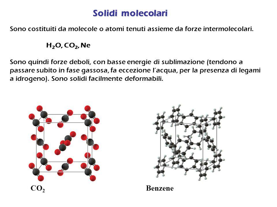 Solidi ionici Sono costituiti da cationi ed anioni tenuti assieme da forze elettrostatiche attrattive forti.