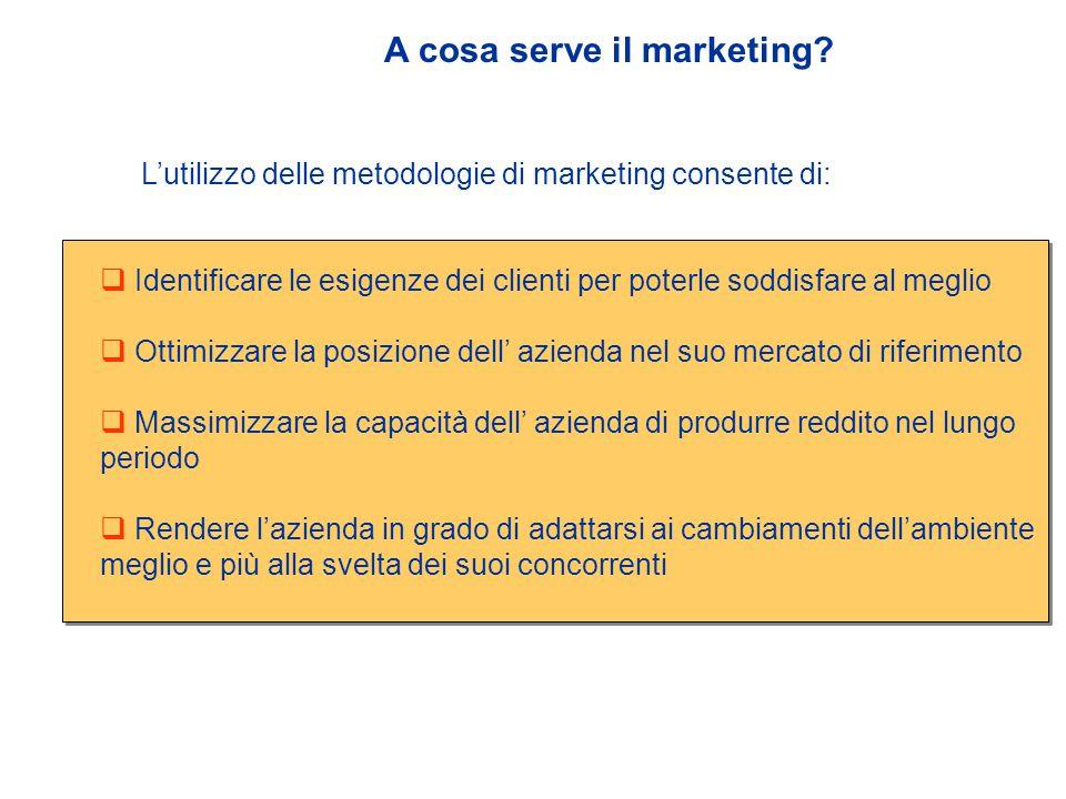  Il marketing è il processo attraverso il quale la struttura della domanda di beni e servizi viene anticipata e soddisfatta con la creazione, promozione, distribuzione e scambio dei beni e servizi richiesti.