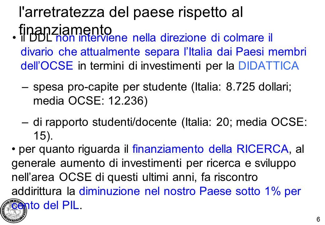6 l arretratezza del paese rispetto al finanziamento il DDL non interviene nella direzione di colmare il divario che attualmente separa l'Italia dai Paesi membri dell'OCSE in termini di investimenti per la DIDATTICA –spesa pro-capite per studente (Italia: 8.725 dollari; media OCSE: 12.236) –di rapporto studenti/docente (Italia: 20; media OCSE: 15).