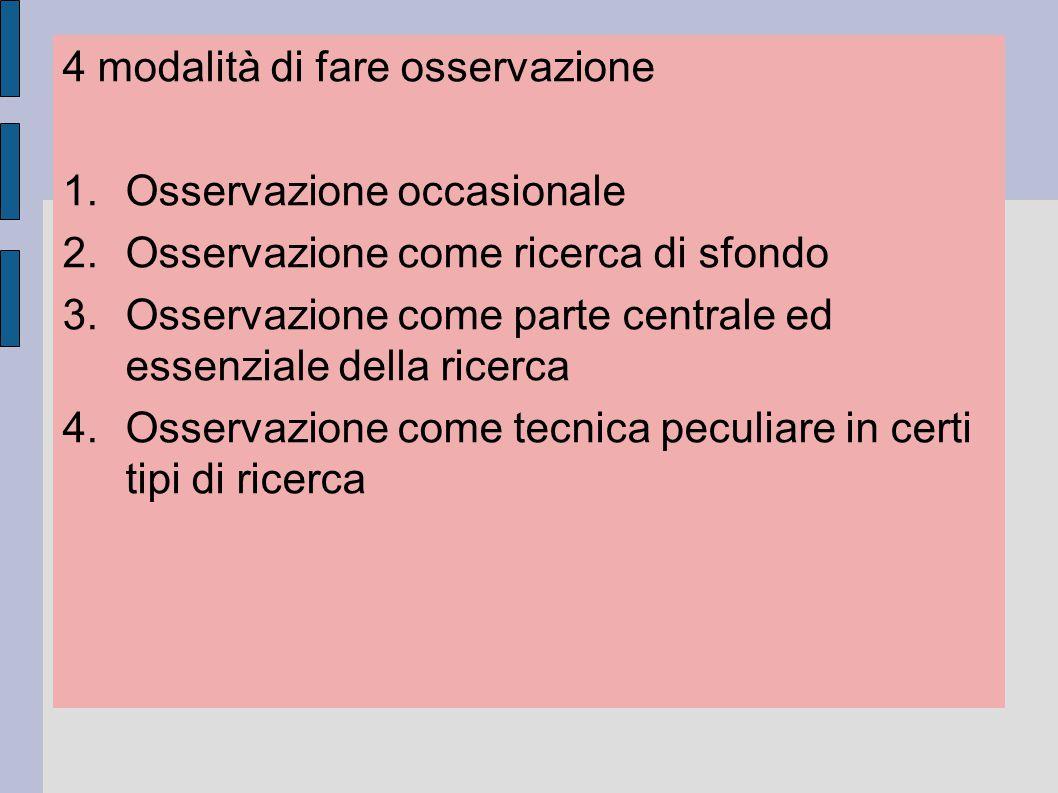 4 modalità di fare osservazione 1.Osservazione occasionale 2.Osservazione come ricerca di sfondo 3.Osservazione come parte centrale ed essenziale dell
