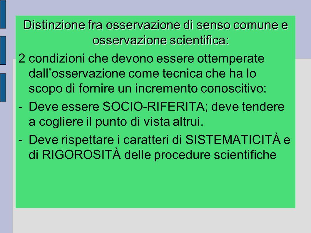 Distinzione fra osservazione di senso comune e osservazione scientifica: 2 condizioni che devono essere ottemperate dall'osservazione come tecnica che