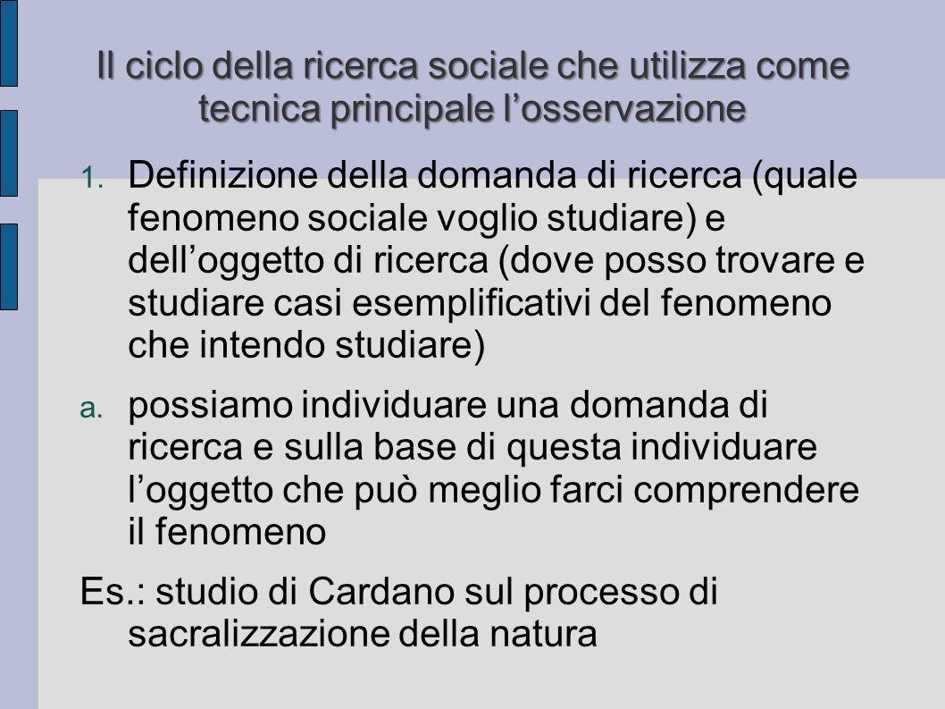 Il ciclo della ricerca sociale che utilizza come tecnica principale l'osservazione 1. Definizione della domanda di ricerca (quale fenomeno sociale vog