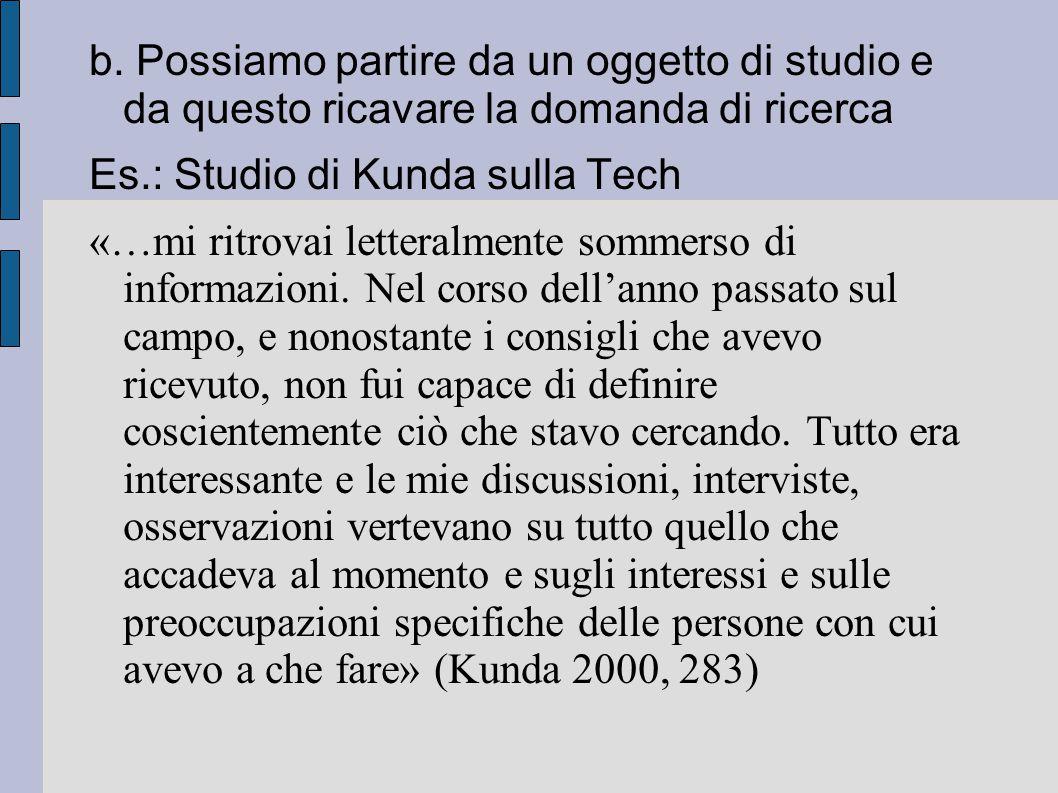 b. Possiamo partire da un oggetto di studio e da questo ricavare la domanda di ricerca Es.: Studio di Kunda sulla Tech «…mi ritrovai letteralmente som