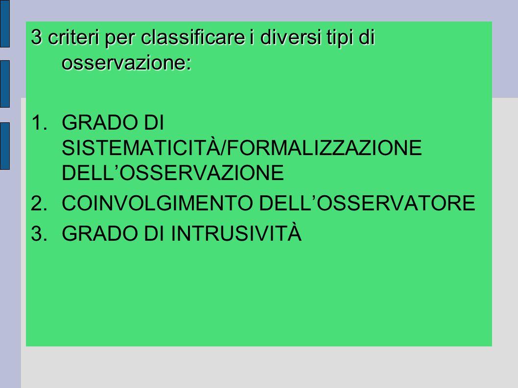 3 criteri per classificare i diversi tipi di osservazione: 1.GRADO DI SISTEMATICITÀ/FORMALIZZAZIONE DELL'OSSERVAZIONE 2.COINVOLGIMENTO DELL'OSSERVATOR