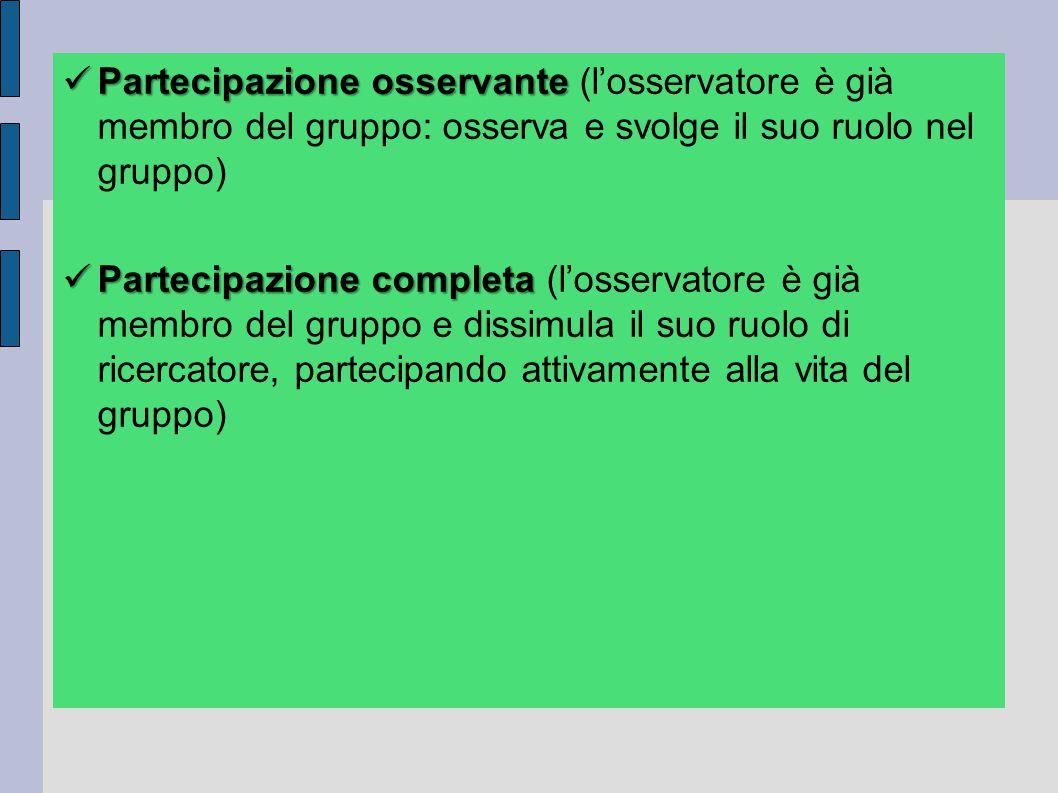 Partecipazione osservante Partecipazione osservante (l'osservatore è già membro del gruppo: osserva e svolge il suo ruolo nel gruppo) Partecipazione