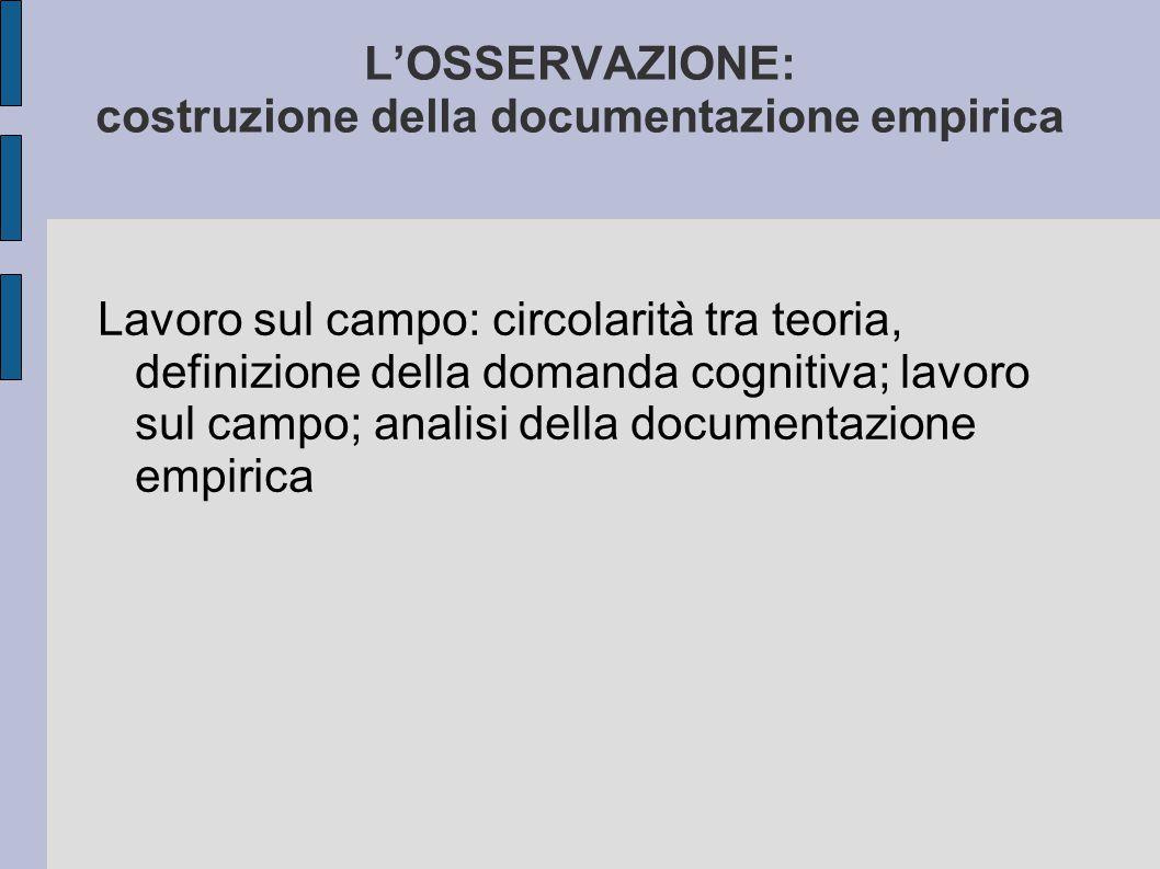 L'OSSERVAZIONE: costruzione della documentazione empirica Lavoro sul campo: circolarità tra teoria, definizione della domanda cognitiva; lavoro sul ca