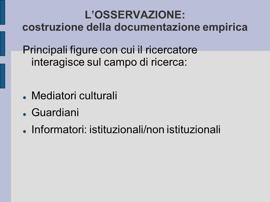 L'OSSERVAZIONE: costruzione della documentazione empirica Principali figure con cui il ricercatore interagisce sul campo di ricerca: Mediatori cultura