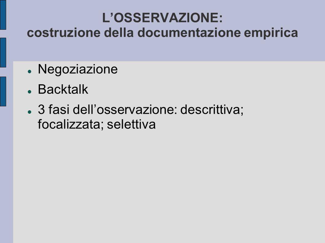 L'OSSERVAZIONE: costruzione della documentazione empirica Negoziazione Backtalk 3 fasi dell'osservazione: descrittiva; focalizzata; selettiva