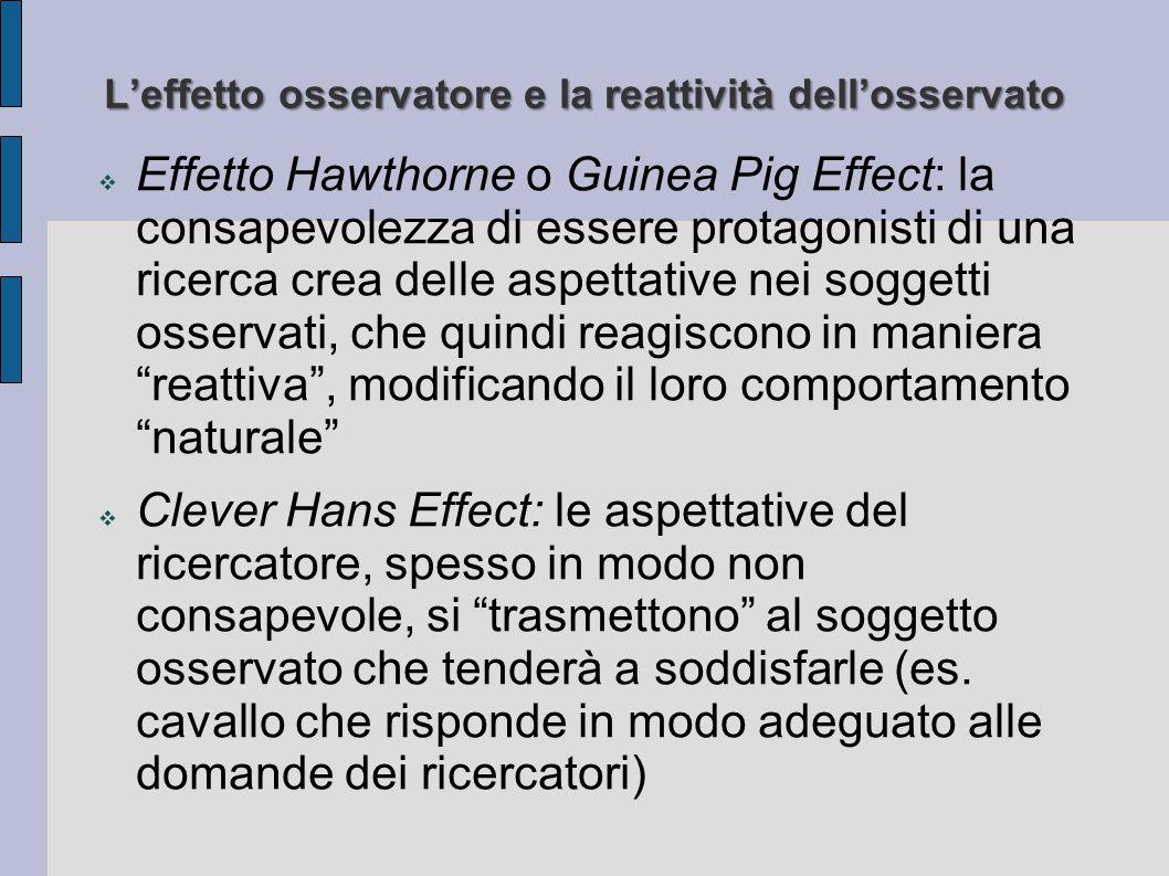 L'effetto osservatore e la reattività dell'osservato  Effetto Hawthorne o Guinea Pig Effect: la consapevolezza di essere protagonisti di una ricerca