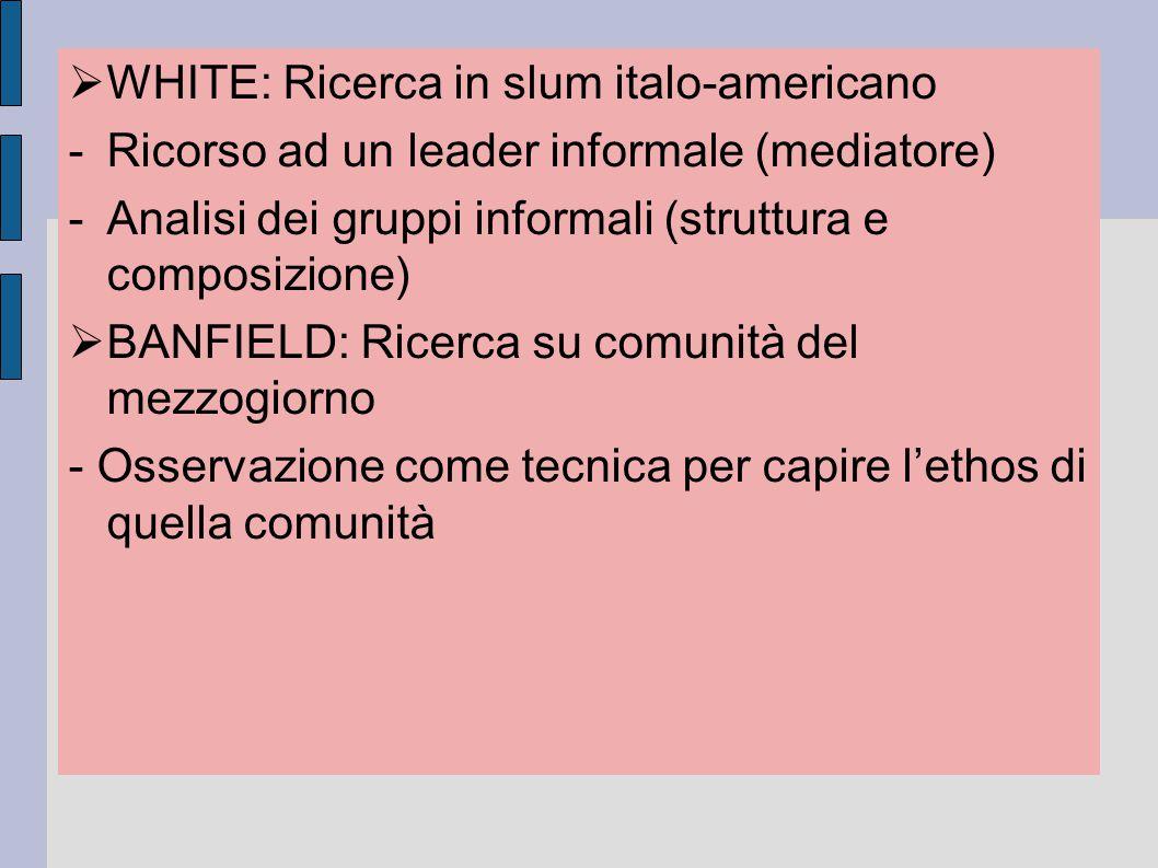  WHITE: Ricerca in slum italo-americano -Ricorso ad un leader informale (mediatore) -Analisi dei gruppi informali (struttura e composizione)  BANF