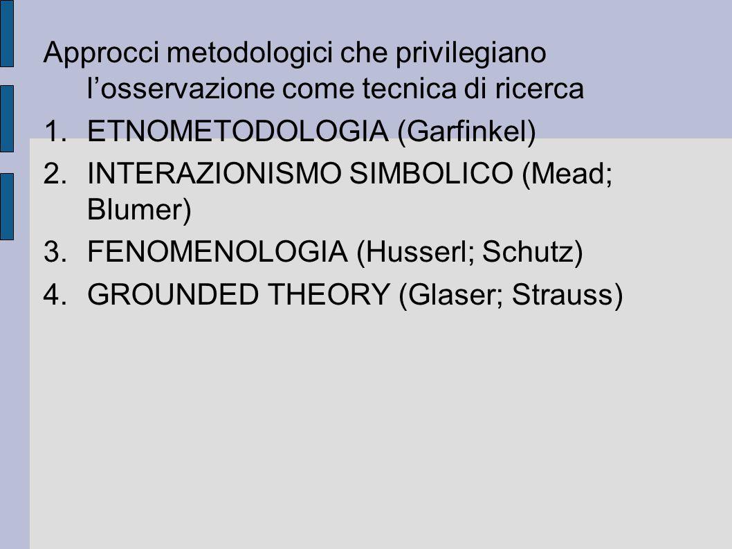 Approcci metodologici che privilegiano l'osservazione come tecnica di ricerca 1.ETNOMETODOLOGIA (Garfinkel) 2.INTERAZIONISMO SIMBOLICO (Mead; Blumer)