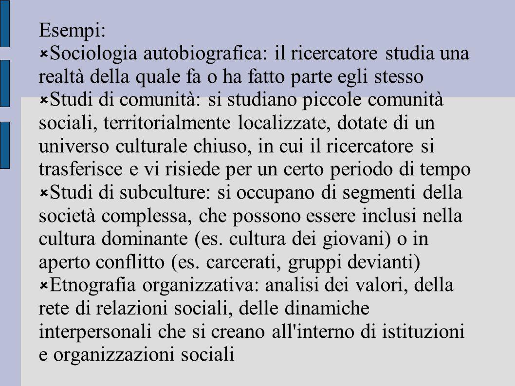 Esempi:  Sociologia autobiografica: il ricercatore studia una realtà della quale fa o ha fatto parte egli stesso  Studi di comunità: si studiano pic
