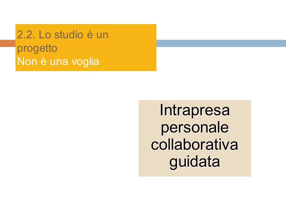 2.2. Lo studio è un progetto Non è una voglia Intrapresa personale collaborativa guidata