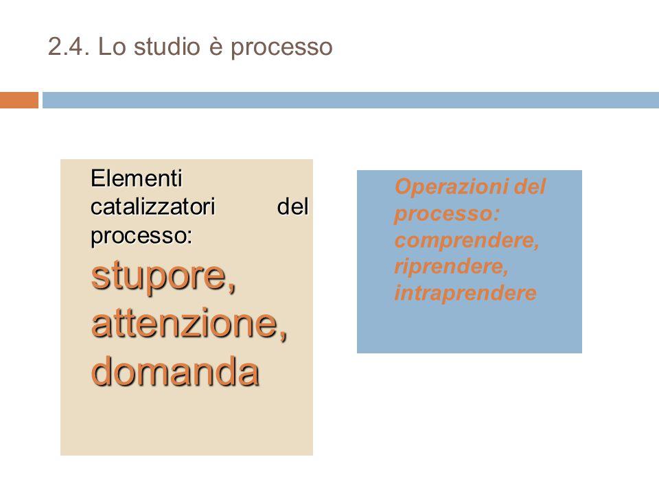 2.4. Lo studio è processo Elementi catalizzatori del processo: stupore, attenzione, domanda Operazioni del processo: comprendere, riprendere, intrapre