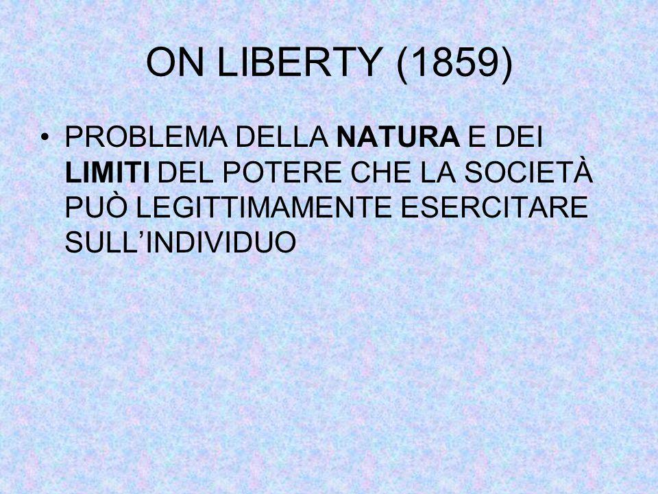ON LIBERTY (1859) PROBLEMA DELLA NATURA E DEI LIMITI DEL POTERE CHE LA SOCIETÀ PUÒ LEGITTIMAMENTE ESERCITARE SULL'INDIVIDUO
