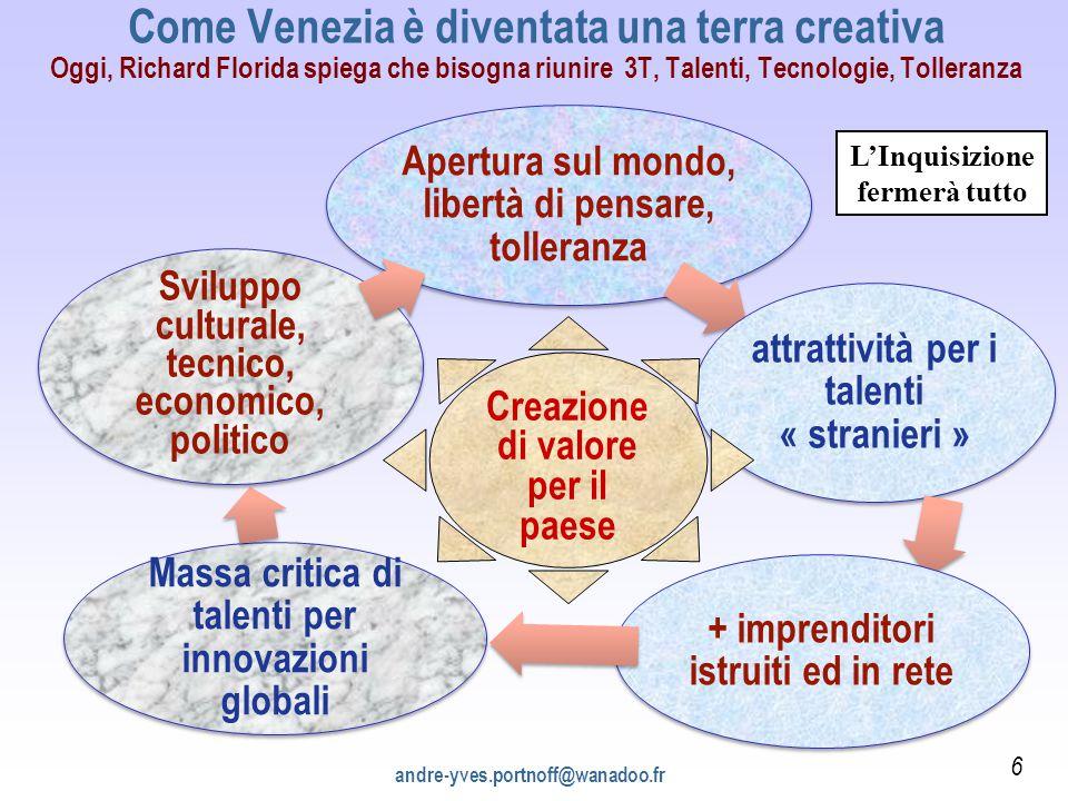 Come Venezia è diventata una terra creativa Oggi, Richard Florida spiega che bisogna riunire 3T, Talenti, Tecnologie, Tolleranza Apertura sul mondo, l