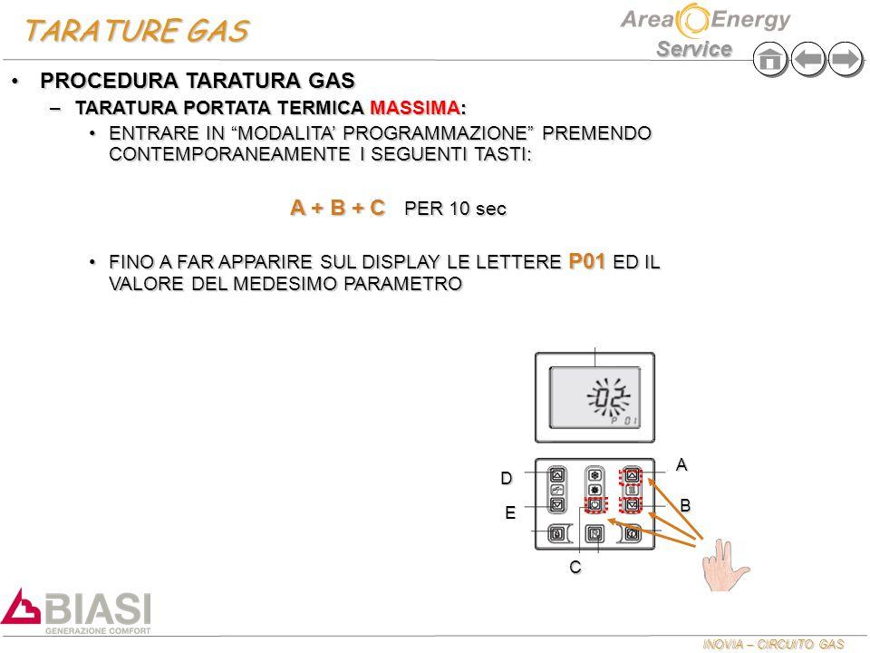 """INOVIA – CIRCUITO GAS Service TARATURE GAS PROCEDURA TARATURA GASPROCEDURA TARATURA GAS –TARATURA PORTATA TERMICA MASSIMA: ENTRARE IN """"MODALITA' PROGR"""