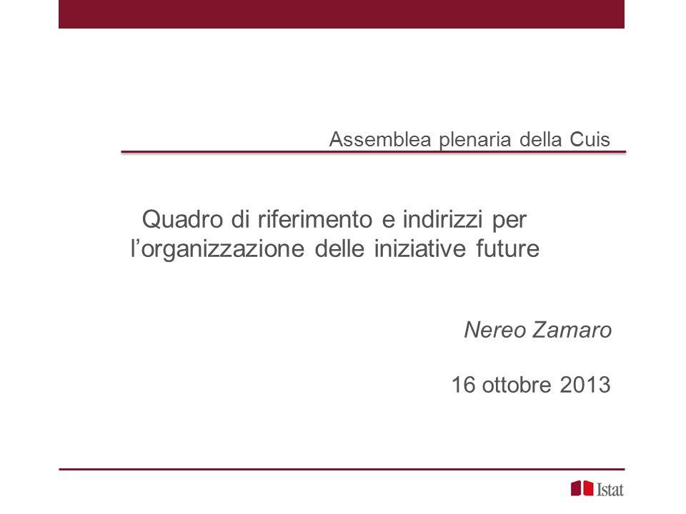 Assemblea plenaria della Cuis Quadro di riferimento e indirizzi per l'organizzazione delle iniziative future Nereo Zamaro 16 ottobre 2013