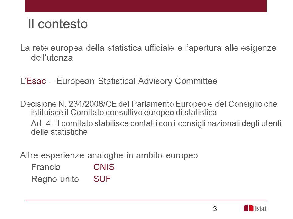 3 Il contesto La rete europea della statistica ufficiale e l'apertura alle esigenze dell'utenza L'Esac – European Statistical Advisory Committee Decisione N.