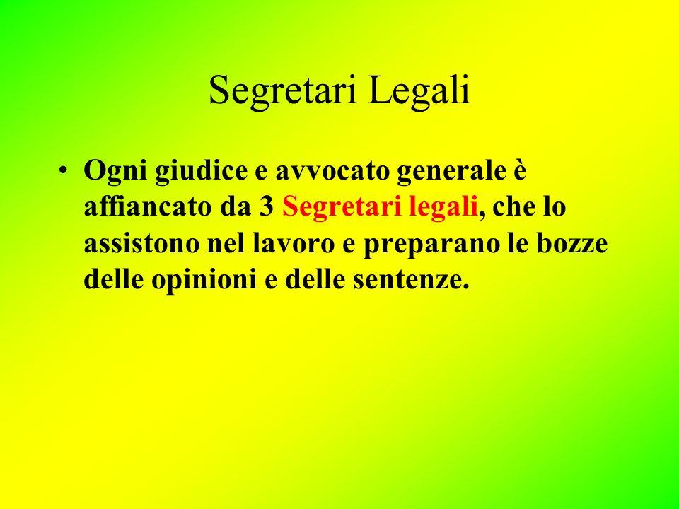 Segretari Legali Ogni giudice e avvocato generale è affiancato da 3 Segretari legali, che lo assistono nel lavoro e preparano le bozze delle opinioni e delle sentenze.