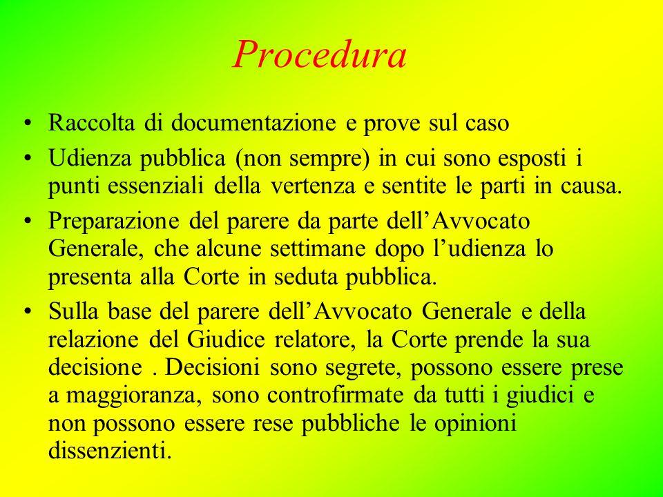 Procedura Raccolta di documentazione e prove sul caso Udienza pubblica (non sempre) in cui sono esposti i punti essenziali della vertenza e sentite le parti in causa.
