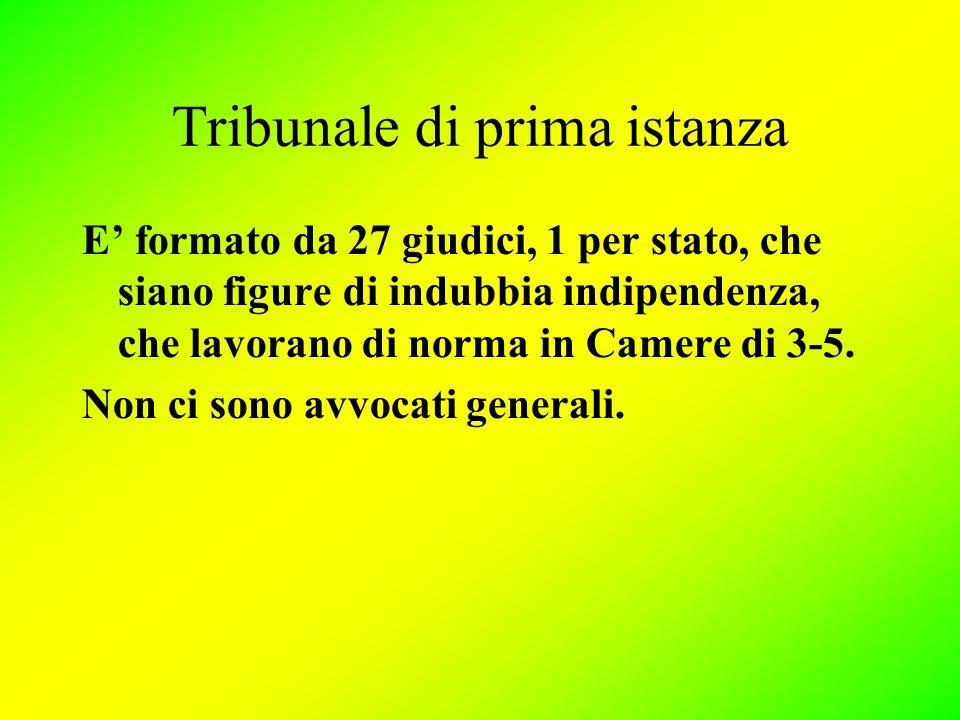 Tribunale di prima istanza E' formato da 27 giudici, 1 per stato, che siano figure di indubbia indipendenza, che lavorano di norma in Camere di 3-5.