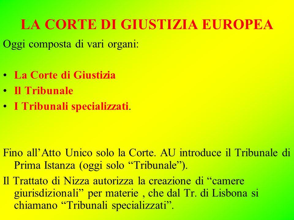 LA CORTE DI GIUSTIZIA EUROPEA Oggi composta di vari organi: La Corte di Giustizia Il Tribunale I Tribunali specializzati.