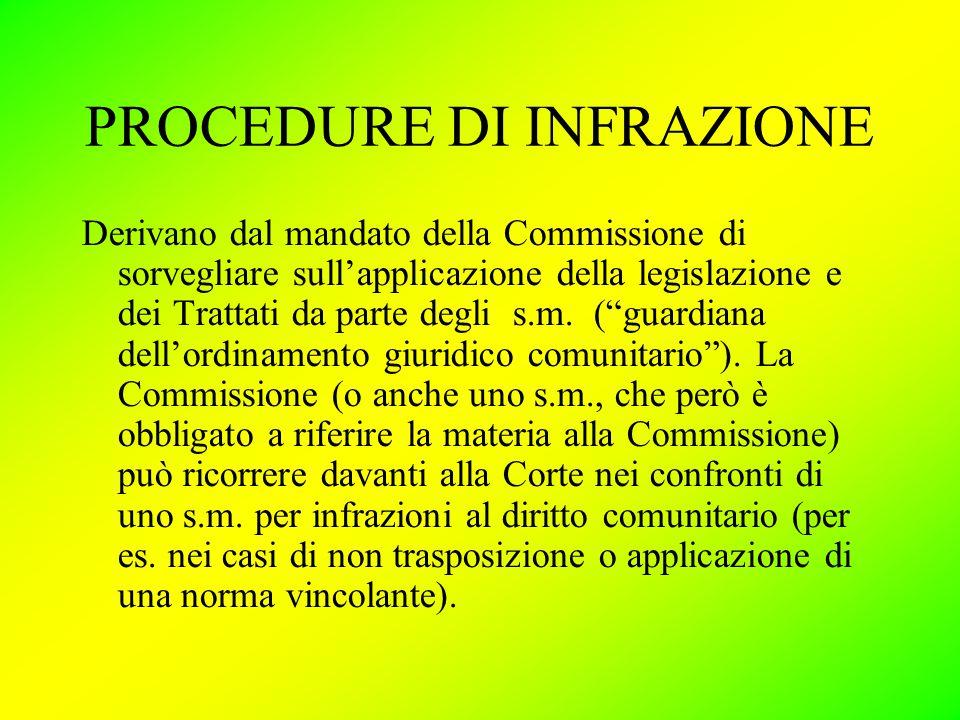PROCEDURE DI INFRAZIONE Derivano dal mandato della Commissione di sorvegliare sull'applicazione della legislazione e dei Trattati da parte degli s.m.