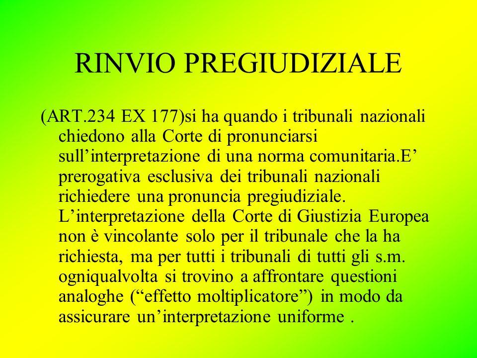 RINVIO PREGIUDIZIALE (ART.234 EX 177)si ha quando i tribunali nazionali chiedono alla Corte di pronunciarsi sull'interpretazione di una norma comunitaria.E' prerogativa esclusiva dei tribunali nazionali richiedere una pronuncia pregiudiziale.
