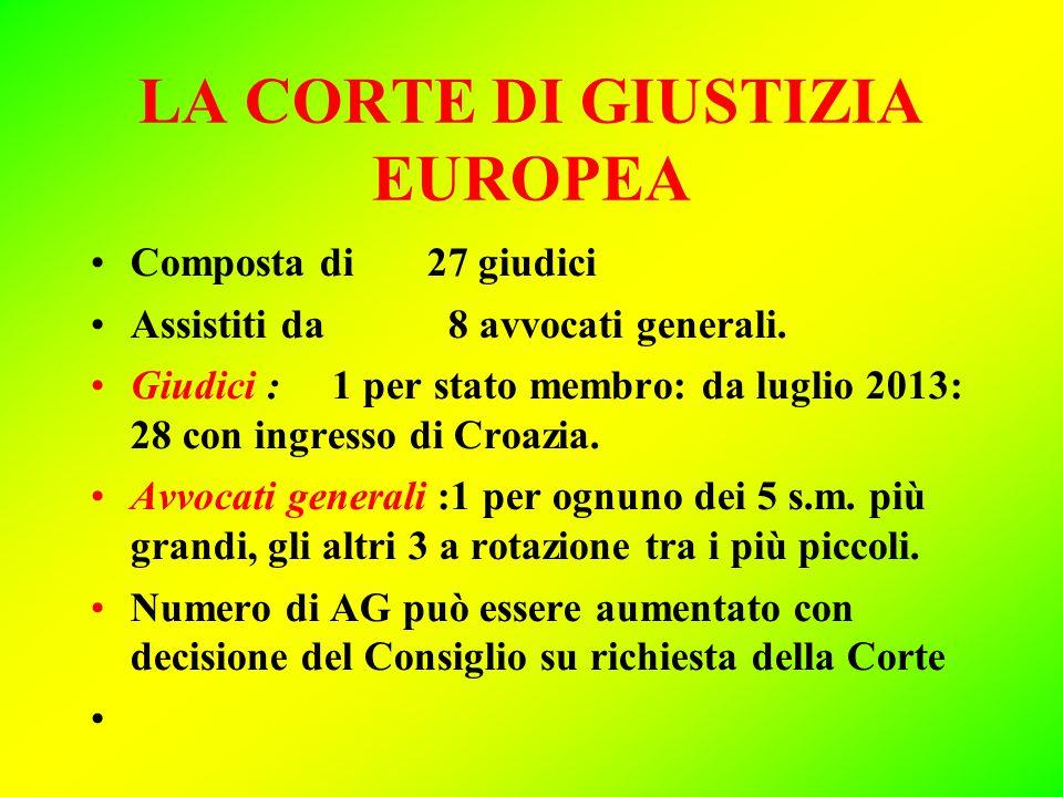 LA CORTE DI GIUSTIZIA EUROPEA Composta di 27 giudici Assistiti da 8 avvocati generali.