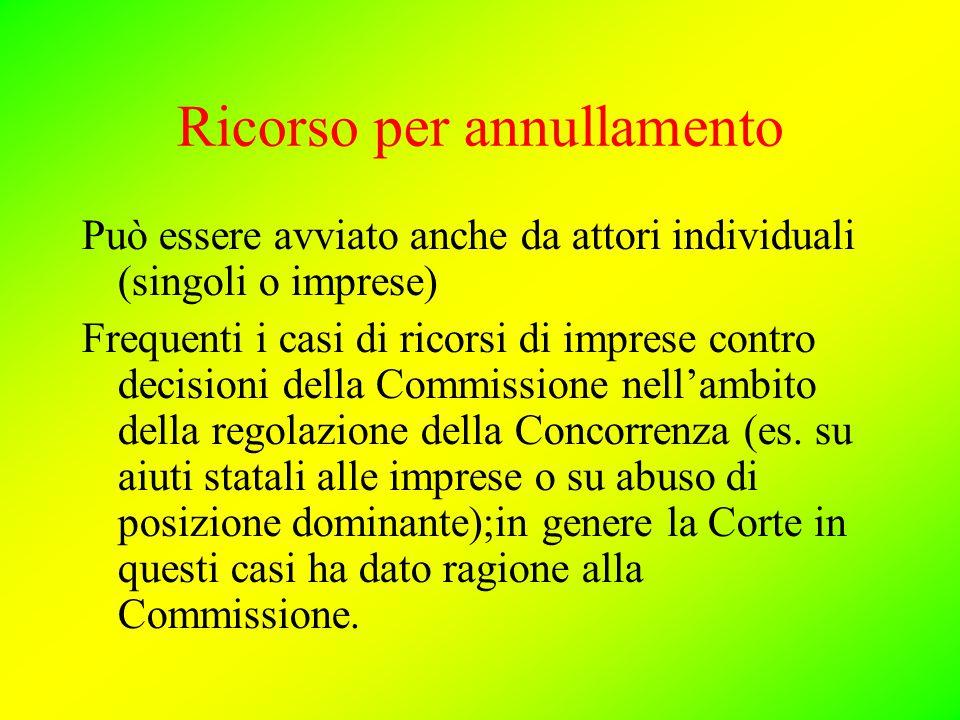 Ricorso per annullamento Può essere avviato anche da attori individuali (singoli o imprese) Frequenti i casi di ricorsi di imprese contro decisioni della Commissione nell'ambito della regolazione della Concorrenza (es.
