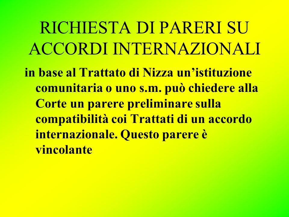 RICHIESTA DI PARERI SU ACCORDI INTERNAZIONALI in base al Trattato di Nizza un'istituzione comunitaria o uno s.m.