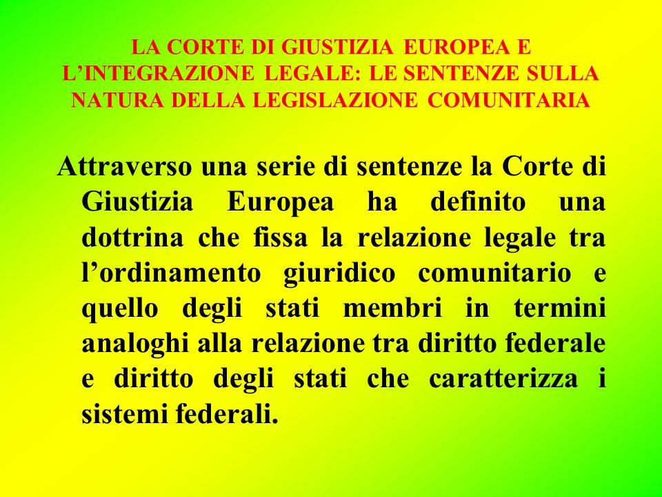 LA CORTE DI GIUSTIZIA EUROPEA E L'INTEGRAZIONE LEGALE: LE SENTENZE SULLA NATURA DELLA LEGISLAZIONE COMUNITARIA Attraverso una serie di sentenze la Cor