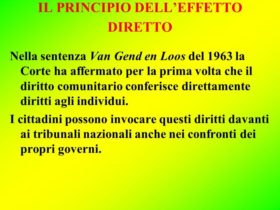 IL PRINCIPIO DELL'EFFETTO DIRETTO Nella sentenza Van Gend en Loos del 1963 la Corte ha affermato per la prima volta che il diritto comunitario conferisce direttamente diritti agli individui.