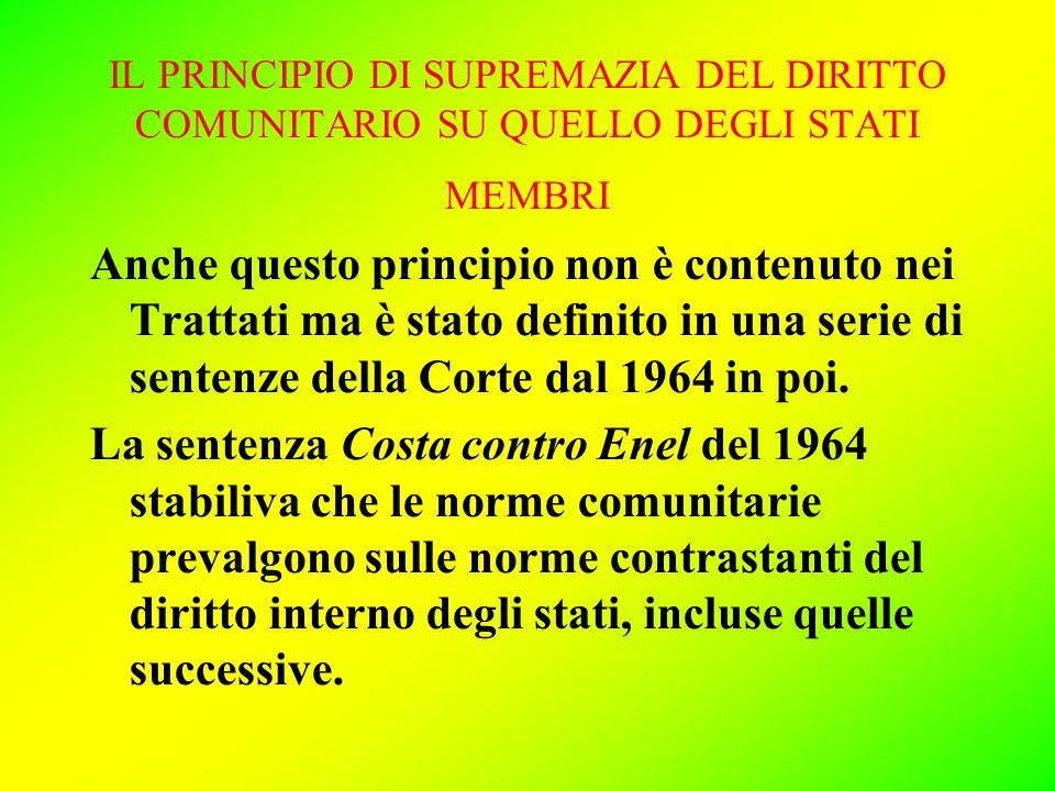 IL PRINCIPIO DI SUPREMAZIA DEL DIRITTO COMUNITARIO SU QUELLO DEGLI STATI MEMBRI Anche questo principio non è contenuto nei Trattati ma è stato definito in una serie di sentenze della Corte dal 1964 in poi.